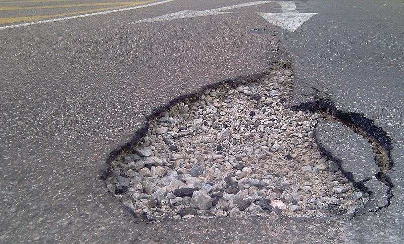 massive potholes